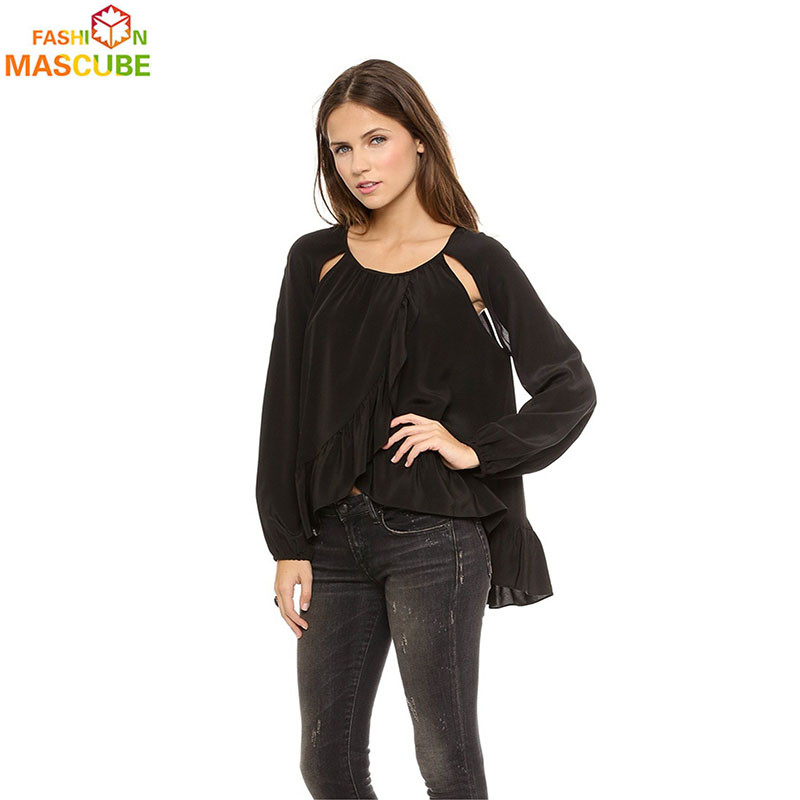 [MASCUBE FASHION]Long Sleeved Women Chiffon Shirt Open Shoulder Hollow vetement femme Black Vertical Fold Women Shirt Tops(China (Mainland))