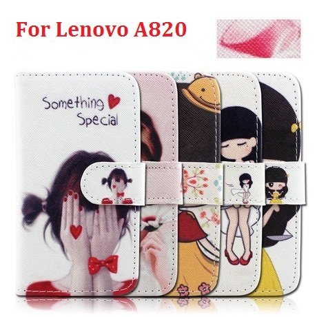 New Cheap Cell Phones Cover with Credit Card Slot Stand Flip Leather Wallet Cartoon & Fashion Case for Lenovo A820(China (Mainland))