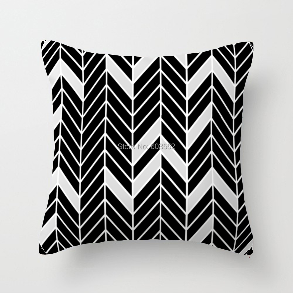 Black And White Decorative Pillow Cases : Black and white Geometric Cushion Covers.Decorative Throw Pillow Covers.18x18 Inch Double sided ...