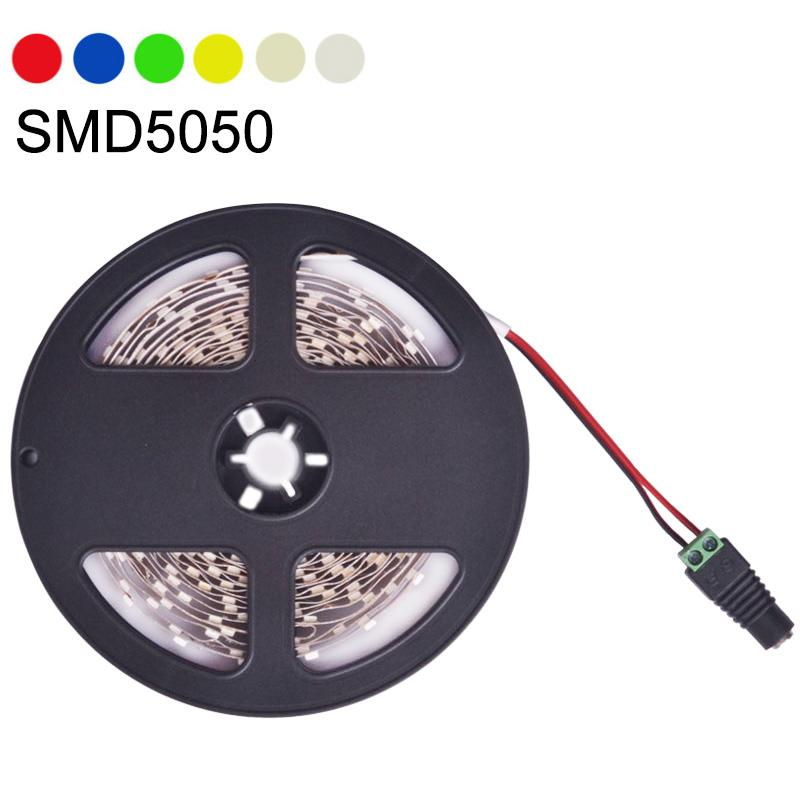 NEW LED Strip Light SMD5050 DC 12V Single Color Flexible LED Light Lamp 60LED/m 5m ,Cool Whi