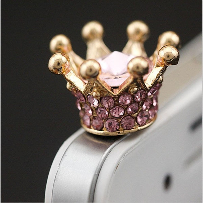 Mobile phone Earphone 3.5mm AUX Jack Dust Plug imperial crown 3.5 diamond enchufe del polvo for apple Iphone 4 5 6 PC latop cork(China (Mainland))