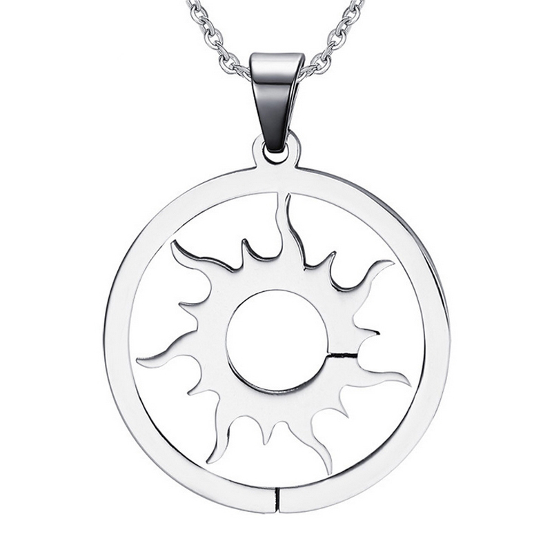 2016 new fashion 316l stainless steel Trendy Fine Jewelry Round Sun Necklace for men and women simple cheap elegant gift(China (Mainland))