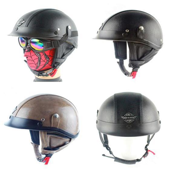 Best Sales Safe leather Half helmet motorcycle helmet Harley helmets cruise helmet black/brown DOT(China (Mainland))