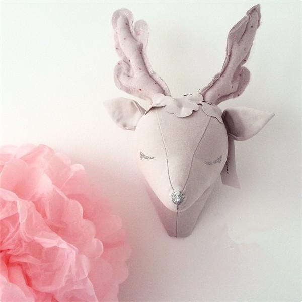 Kids Baby Handmade DIY Stuffed Toys Animals Pink Deer Beige Unicorn Room Wall Decoration Size 35X25CM Christmas Gift(China (Mainland))
