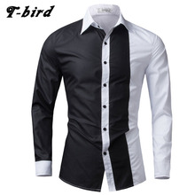 Buy Men Shirt Long Sleeve 2017 Brand Shirts Men Casual Male Slim Fit Fashion Spell Color Chemise Mens Camisas Dress Shirts 4XL WEYOR for $10.06 in AliExpress store
