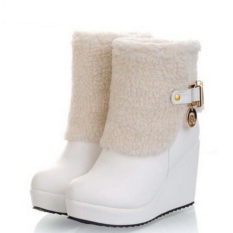 2015 Fashion Women's Snow Boots British Style Platform Shoes High Heel Wedge Winter Boots Shoes Woman Drop Shipping XWX031(China (Mainland))
