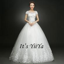 Buy Free YiiYa 2016 White Wedding Dresses Bride Princess Ball Gowns Bridal Vestidos De Novia Frocks Short Sleeves XXN146 for $39.00 in AliExpress store