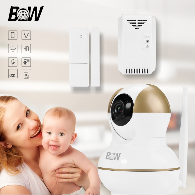 Фотография BW Smart Surveillance Camera Security System CCTV +Door Sensor/Gas Detector Home Alarm Security System Camera Wifi Cam BW12G