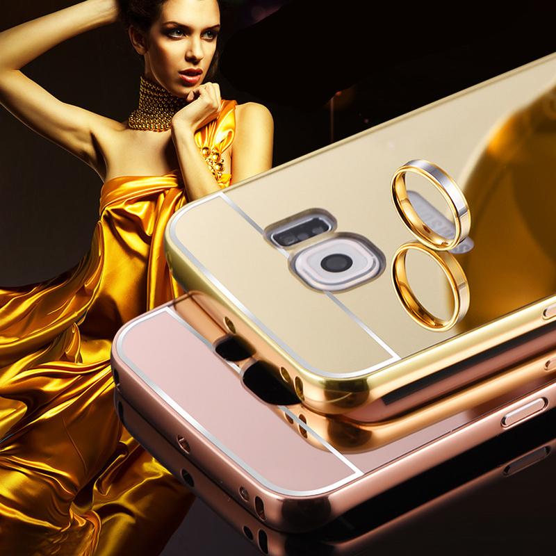 Case for samsung galaxy s6 edge Luxury Slim Acrylic Metal Frame Mirror Aluminum back cover case for samsung galaxy s6 edge(China (Mainland))