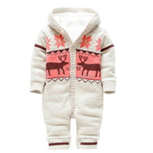 2016 Autumn Winter Baby Romper Boy Girl Jumpsuit Winter Jersey Soft Christmas Deer Thicken Hooded Warm Clothes Roupas De MX029(China (Mainland))