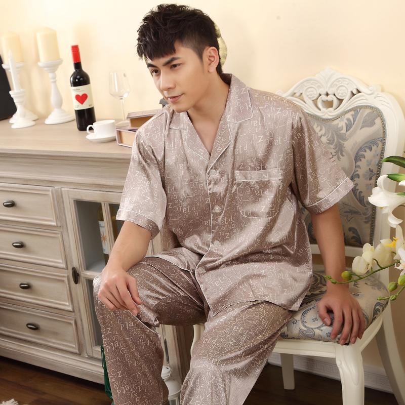 Шелк пижама короткая - рукав кардиган южная корейский шелк принт свободного покроя шелк мужчины в одежда салон