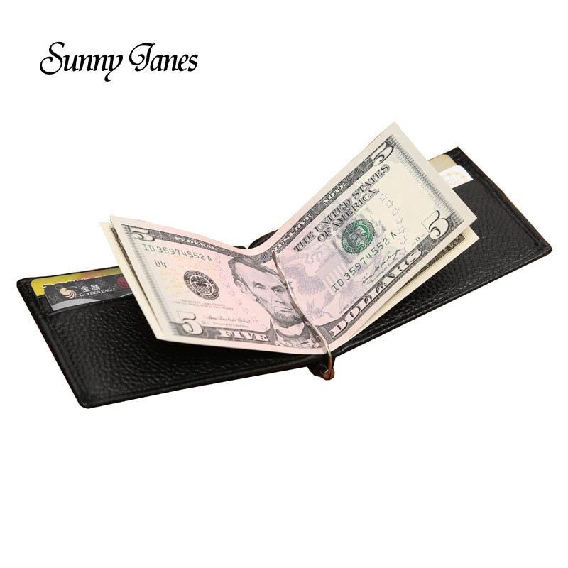 designer money clip wallet 7ueq  2017 New Designer Ultra Thin Genuine Leather Solid Money Clip Card Pocket  Slim Double Side Money