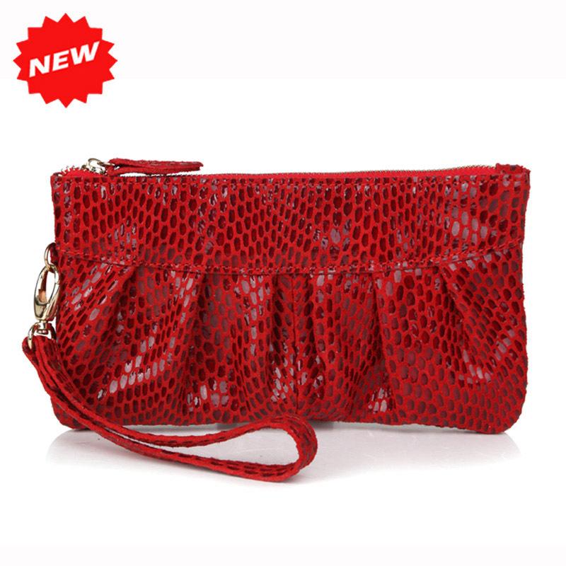 2016 Fashion Snake skin Genuine cow Leather Women's Purse Clutch Evening Bag handbag,YB918(China (Mainland))