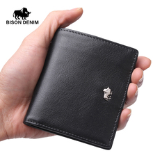 BISON DENIM Brand Business Genuine Leather wallet for men / women Small Thin Card Holder Slim Wallets Mini Zipper Coin Purse(China (Mainland))