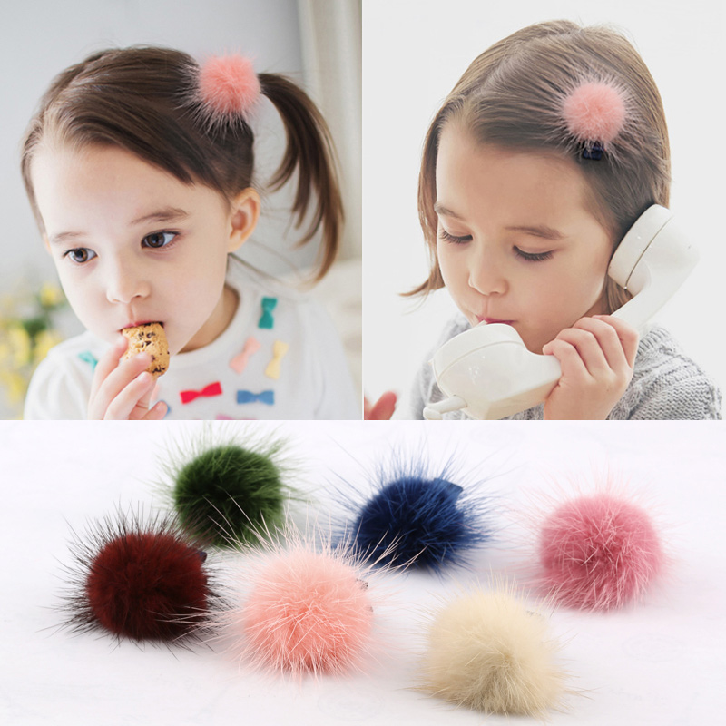 2pcs/lot Special Offer Solid Children Girls Fur New Fashion Accessories Cute Elastic Hair Bands Girl Hairband Rope Band Headwear(China (Mainland))