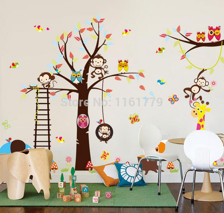 2015 Free Shipping 30*90cm Fun Owl Monkeyhot Sale Swing Colorful Tree Children's Decoration Removable Pvc Wall Sticker(China (Mainland))