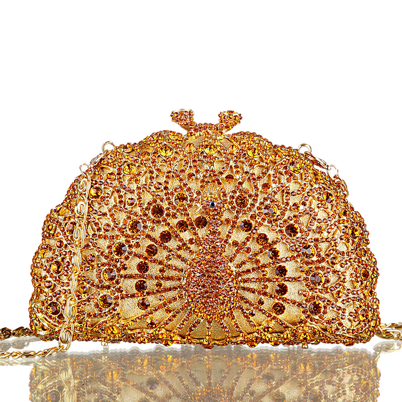 Noble Ladies Luxury Crystal Clutch Bag Colorful Peacock Shape Women Wedding Party Day Clutches Rhinestones Evening Bags <br><br>Aliexpress