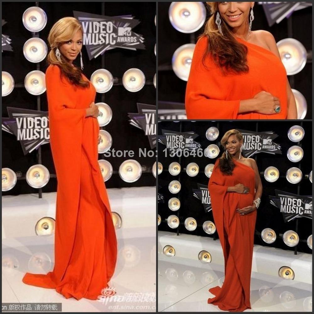 2016 Beyonce Red Carpet Dresses Orange Floor Length Celebrity Dresses Muslim Pregnant Prom Dress(China (Mainland))