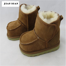 JIAN DIAN Baby Boy Black Winter Snow Boots Real Goat Fur Kids Ugly Booties Nursing Shoes Children Suede Yeezy Shoes 1-4 Years(China (Mainland))