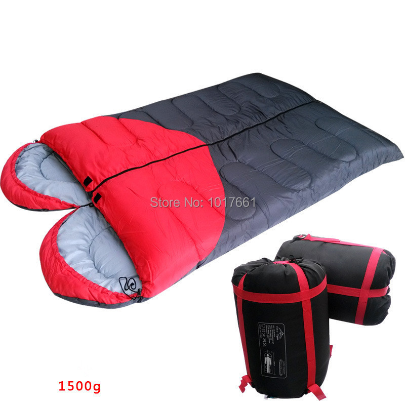 Outdoor camping thickening warm winter heat speed 1.5~1.8 kg heart-shaped lovers can be spliced camping sleeping bag winter(China (Mainland))