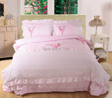 Girls pink ballet lace cotton bedding sets bedclothes with reversible duvet cover flat sheet comforter set 3-5pc twin queen king(China (Mainland))