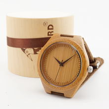 2015 Newest  japanese miyota 2035 movement wristwatches genuine leather bamboo wooden watches for men and women best gifts