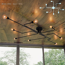 Wrought iron 4 heads 6 heads 8 heads Multiple rod ceiling dome lamp creative personality retro nostalgia cafe bar ceiling light(China (Mainland))