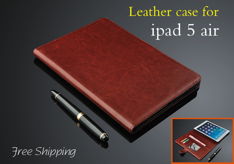 High quality leather cover for Apple ipad 5 air case luxury wallets Flip leathe case with stand holster for ipad5 air sleeve(China (Mainland))