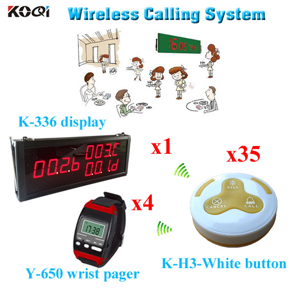 wireless table calling system For Restaurant with factory price 1 led display + 4 watch pager + 35 call button(China (Mainland))
