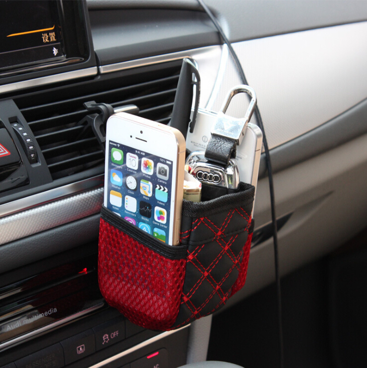 Mini Car Tuyere Grocery Bags Car Cell Phone Pocket Bag Clutter Pouch Glove Black-Red Car Storage Bag Outlet Freeshipping(China (Mainland))
