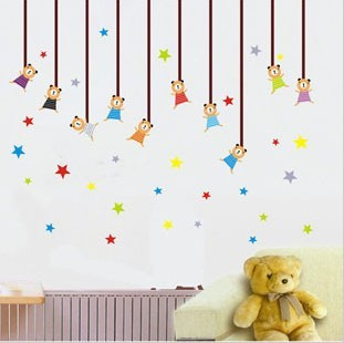 Child real three generations of wall stickers baby sticker