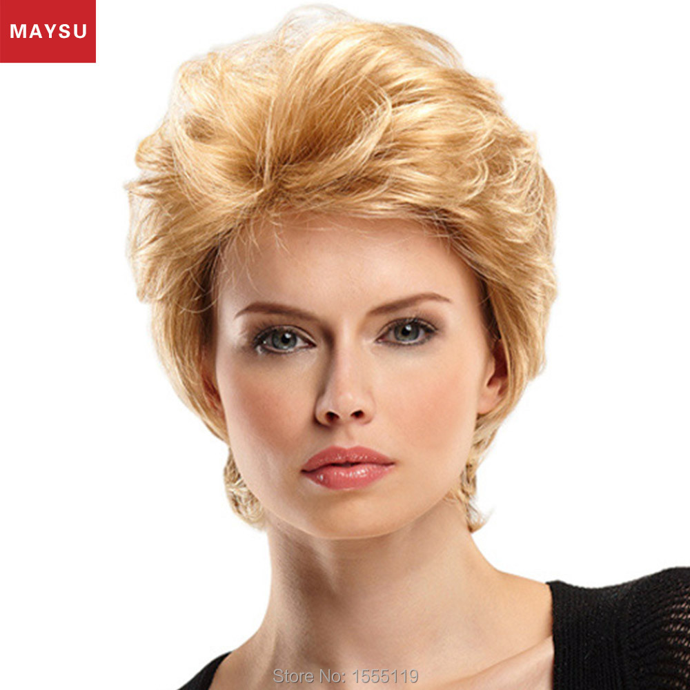 Mordern European Style Short Curl Human Hair Wig For Women Brazilian Virgin Hair Wig Elastic Cap Average Size Wig Free Shipping<br><br>Aliexpress