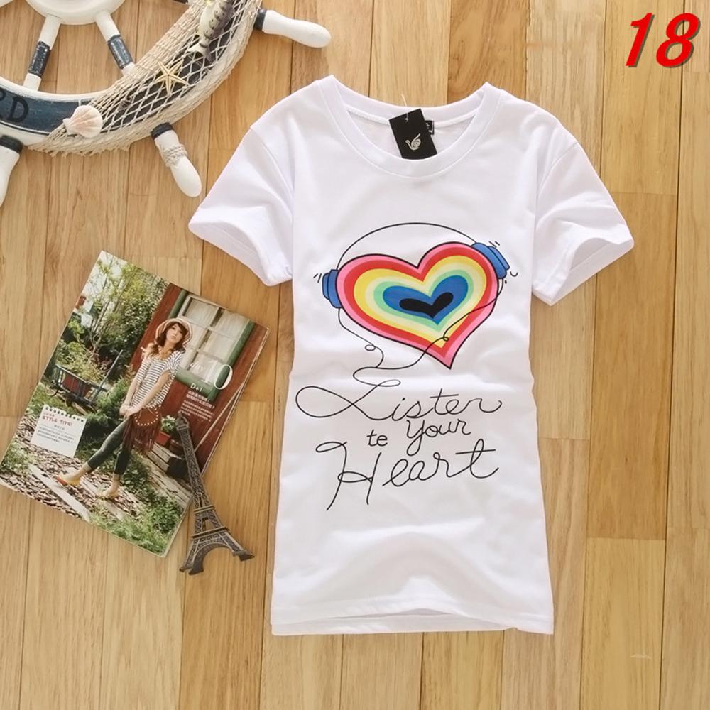 Hot Summer Women Stylish Short Sleeve Printed T shirt Tee Tops Blouse 24 Styles