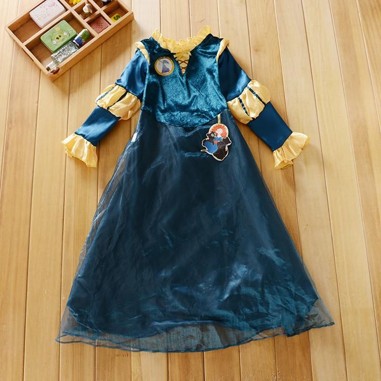 Free shipping Anime Princess Brave Merida Cosplay Halloween Costume Dress for 5-8T girls for christmas(China (Mainland))