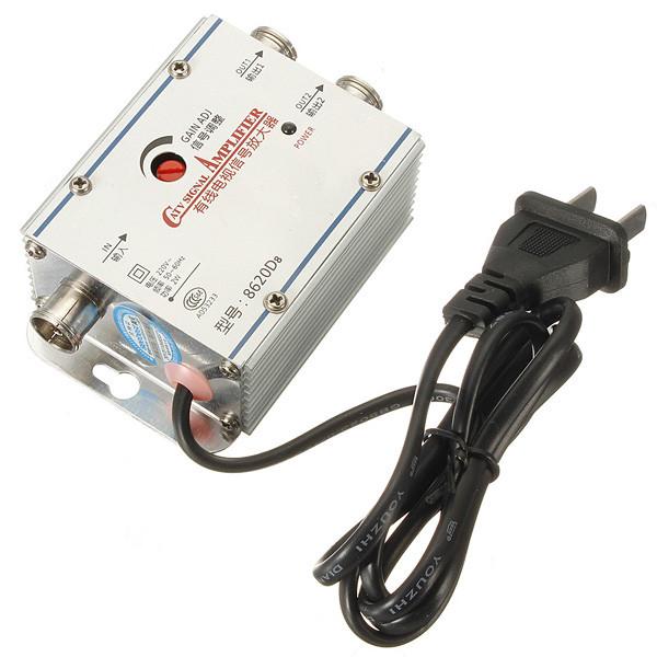 Lowest Price 2 Way CATV Cable TV Signal Amplifier AMP Antenna Booster Splitter Set Broadband(China (Mainland))