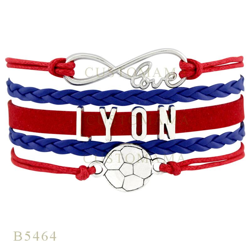 Custom-Infinity Love Lyon Soccer Football Metal Charm Bracelets Gifts Bracelet Red Blue Leather Custom Womens Bracelets(China (Mainland))