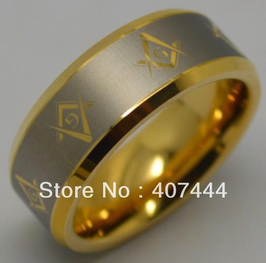 Free Shipping USA HOT SALES!Top Quality E&C Jewelry Brand 8MM 18K GP Golden Tungsten Masonic Ring Men's Classic Wedding Band(China (Mainland))