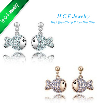 Free shiping 2014 New Hot 18K GP Special Off Christmas Gifts Small Crystal Earrings Clown Fish Heart Accessories Animal Earring