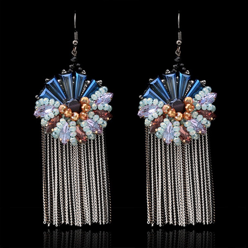 Unique Design Vintage Crystal Beads Flower Black Gun Chains Tassel Drop Dangle Earring Women Fashion Jewelry - KAYMEN JEWELRY CO,.LED. store
