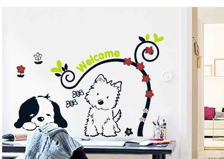 TC1095 Cute Cat Dog Flower Rattan Little Puppy Welcome Bee Wall Stickers Kid's Room Waterproof Home Decals PVC Art Decoration(China (Mainland))