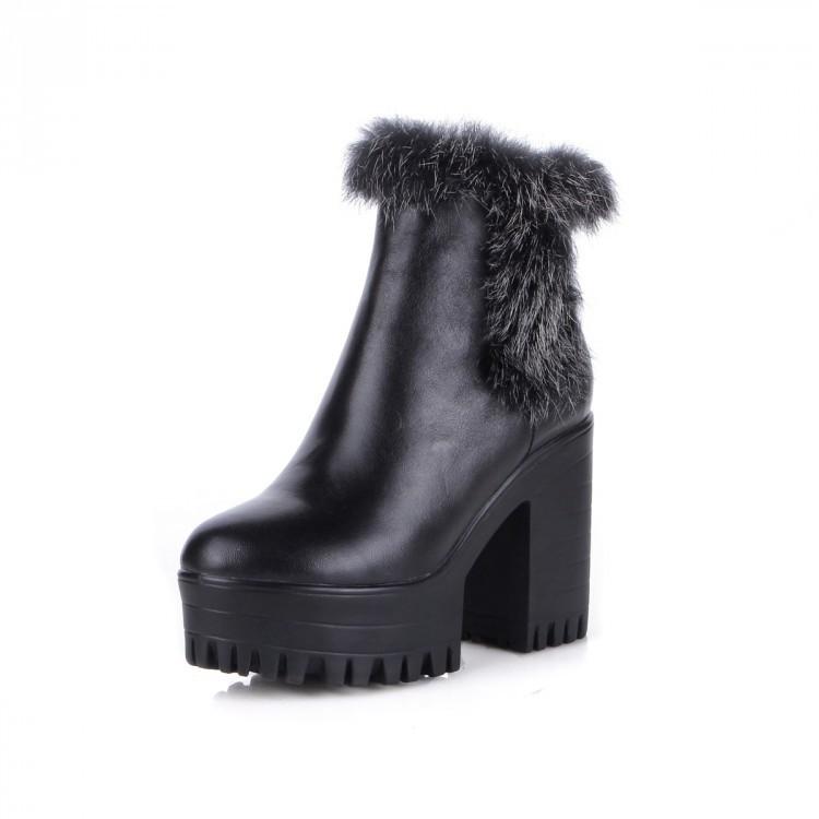 Fashion Genuine Leather+Rabbit hair women winter snow ankle boots high heels11cm women Martin motorcycle boots platform pumps