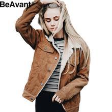 BeAvant Warm camel corduroy jacket coat Winter 2016 black long sleeve lambswool women coat Vintage hairly collar female overcoat