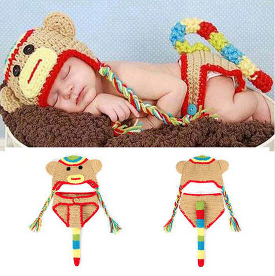 Lovely Monkey Baby Photo Props Hat + Short Set Newborn Crochet Beanies Photography Props Knitted Infant SY30(China (Mainland))