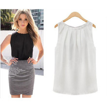 Sexy Women Lady Elegant Summer Loose Solid Fold Collar Sleeveless Chiffon Vest Tank Tops Blouse Gift(China (Mainland))