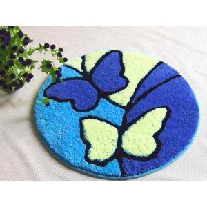 DIY Needlework Kit Unfinished Crocheting Yarn Mat Latch Hook Rug Floor Mat Butterfly Picture Carpet(China (Mainland))