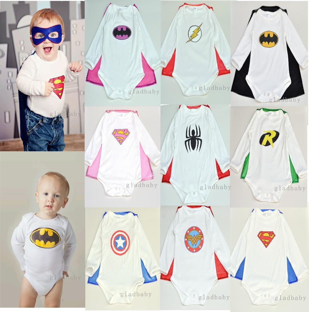 2015Superhero Baby romper sets(romper+Cape) batman baby Costume birthday gift baby halloween superman baby jumpsuits bebe suit(China (Mainland))