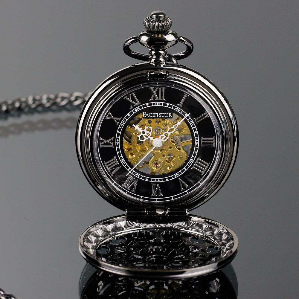 INFANTRY Men's Semi Automatic Mechanical Skeleton Windup Steel Chain Pocket Watch New Luxury Design Pendant(Hong Kong)