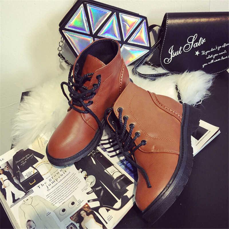 2015 Winter warm british Lace-Up womens casual leather side martin boots motorcycle boots single thick heel lacing female shoes<br><br>Aliexpress