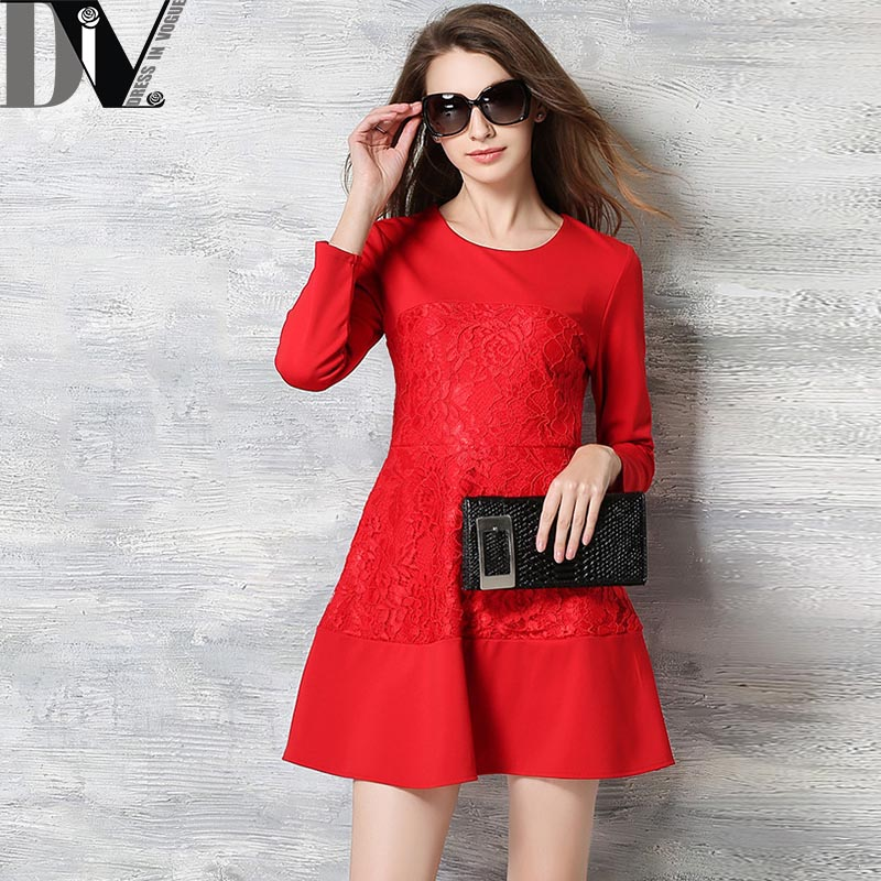 DIV Brand New Women Brief A-Line Dress O-Neck Three Quarter Sleeve Solid Dress Lace Patchwork Broadcloth Femme Vestido Plus Size(China (Mainland))