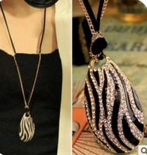 Fine temperament Korean star quality black and white zebra long necklace jewelry wholesale free shipping(China (Mainland))